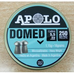 Balines APOLO Domed 5,5mm (.22) 250und. 1,15g.